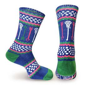 Girls Lacrosse Woven Mid Calf Socks - Arrows (Blue/White/Pink/Green)