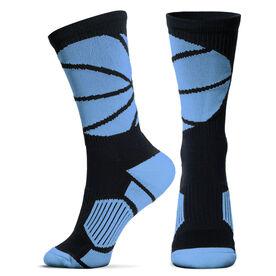 Basketball Woven Mid Calf Socks - Ball Wrap (Black/Carolina Blue)