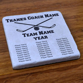Hockey Stone Coaster Thanks Coach With Team Roster