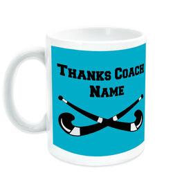 Field Hockey Ceramic Mug Thanks Coach Crossed Sticks
