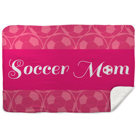 Soccer Sherpa Fleece Blanket Mom Stripe
