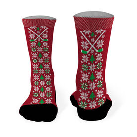 Hockey Printed Mid Calf Socks Christmas Sweater Pattern with Hockey Sticks