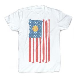 Softball Vintage T-Shirt - American Flag