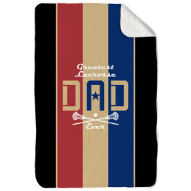 Guys Lacrosse Sherpa Fleece Blanket - Greatest Dad Stripes