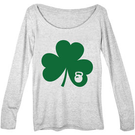 Women's Scoop Neck Long Sleeve Tee Shamrock With Kettlebell