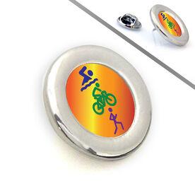 Triathlon Lapel Pin Tri Stick Figures