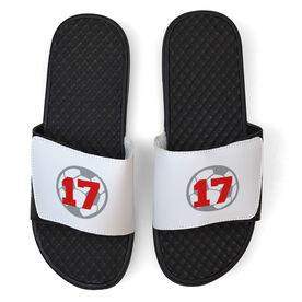 Soccer White Slide Sandals - Soccer Ball with Number