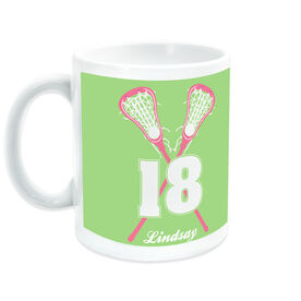 Girls Lacrosse Ceramic Mug Personalized Crossed Girl Sticks with Big Number