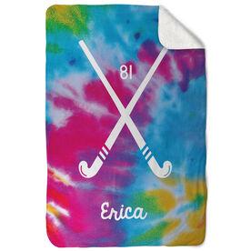 Field Hockey Sherpa Fleece Blanket Personalized Tye Dye Pattern With Field Hockey Sticks