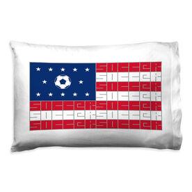 Soccer Pillowcase - American Flag Sport Word Stripes