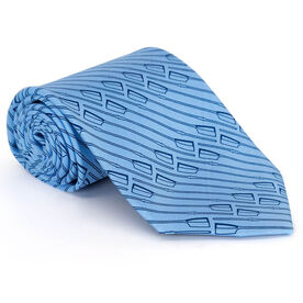Crew Oar Pattern with Carolina Blue Web Silk Tie