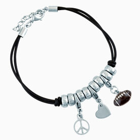 Peace Love Football Silver Charm Bracelet
