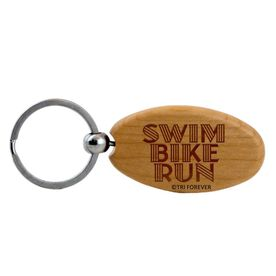 Swim Bike Run Words Maple Key Chain