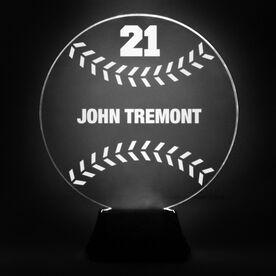 Baseball Acrylic LED Lamp Hardball With Name and Number