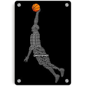 Basketball Metal Wall Art Panel - Personalized Words Guy