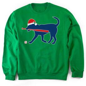 Softball Crew Neck Sweatshirt Play Ball Christmas Dog