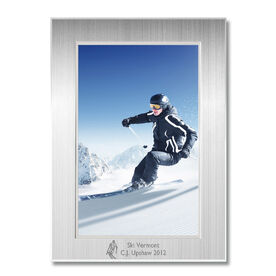 Skiing Engraved Frame Silver 4 x 6 - Skiing Icon