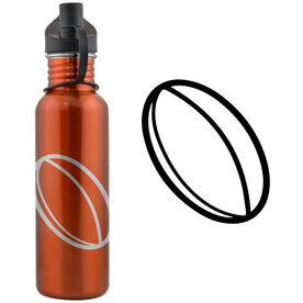 Rugby Ball 24 oz Stainless Steel Water Bottle