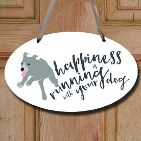 Happiness Is Running With Your Dog Decorative Oval Sign