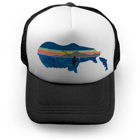 Fly Fishing Trucker Hat - Pond Fishing On Bear Lake