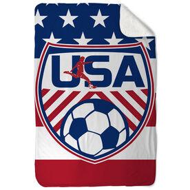 Soccer Sherpa Fleece Blanket USA Soccer