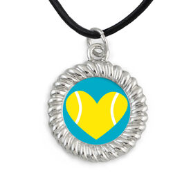 Braided Circle Necklace Tennis Ball Heart