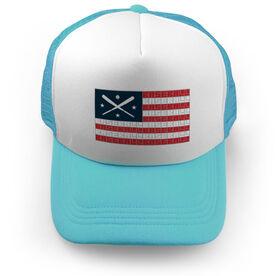 Baseball Trucker Hat - American Flag Words