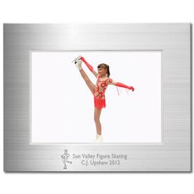 Engraved Figure Skating Frame Silver 5 x 7 with Figure Skater Icon