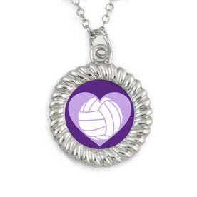 Braided Circle Necklace Volleyball Heart
