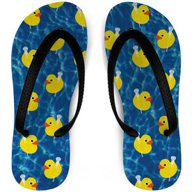 Girls Lacrosse Flip Flops Rubber Ducky