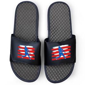 Baseball Navy Slide Sandals - USA Batter Silhouette
