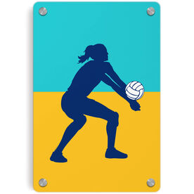 Volleyball Metal Wall Art Panel - Girl Silhouette