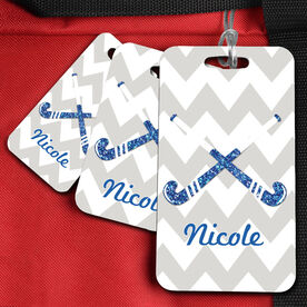 Field Hockey Bag/Luggage Tag Personalized Glitter Crossed Sticks