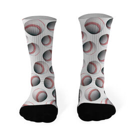 Baseball Printed Mid Calf Socks Baseball All Over Pattern