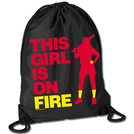 Softball Sport Pack Cinch Sack This Girl Is On Fire Batter