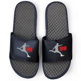 Soccer Navy Slide Sandals - Guy Player with Number