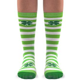 Running Woven Mid Calf Socks - Lucky (Green & White Stripes)