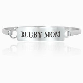 Rugby Engraved Clasp Bracelet - Mom (Text)