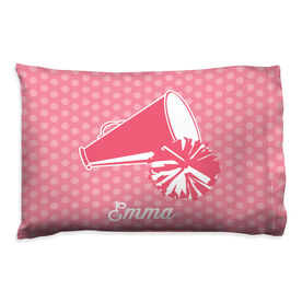 Cheerleading Pillowcase - Personalized Megaphone With Dots Background