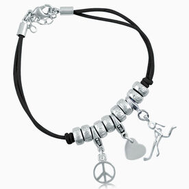 Peace Love Hockey Girl (Stick Figure) Silver Charm Bracelet