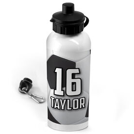 Soccer 20 oz. Stainless Steel Water Bottle Personalized Big Number with Soccer Ball