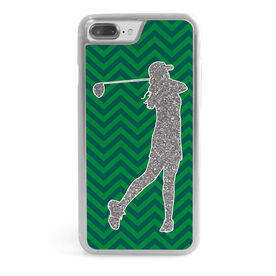 Golf iPhone® Case - Faux Glitter Chevron Pattern