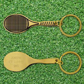 Engraved Tennis Racket Brass Keychain