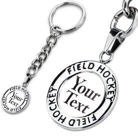 Field Hockey Circle Keychain Your Text