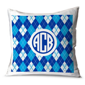 Girls Lacrosse Throw Pillow Personalized Monogram With Lacrosse Sticks Argyle Pattern