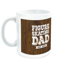 Figure Skating Ceramic Mug Dad With Wood Background