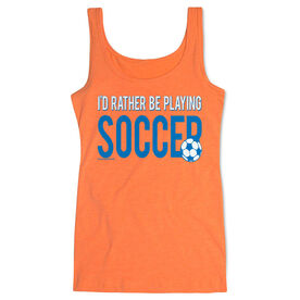 Soccer Women's Athletic Tank Top I'd Rather Be Playing Soccer