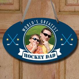 World's Greatest Hockey Dad Custom Photo Decorative Oval Sign