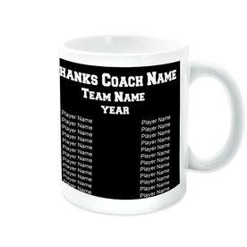 Basketball Ceramic Mug Thanks Coach Custom Logo With Team Roster