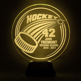 Hockey Acrylic LED Lamp Slap Shot With 4 Lines and Number